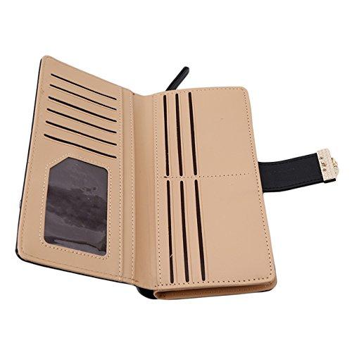 Women's Black Clutch PU Purse HS Leaf Long Hollow Holder Wallet Handbag Card Bifold dww41SqB