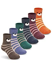 Kids Baby Boy Girls Thick Wool Animal Stripe Winter Socks Soft Warm Thermal Child Toddler Socks 6 Pairs