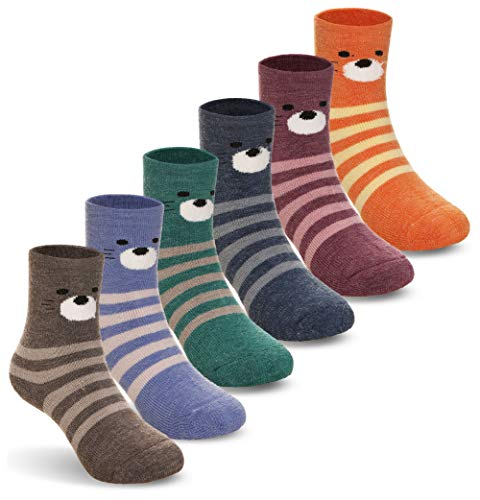 Kids Baby Boy Girls Thick Wool Animal Stripe Winter Socks Soft Warm Thermal Child Toddler Socks 6 Pairs (Stripe, 3-5 Years) (Cold Weather Socks For Girls)