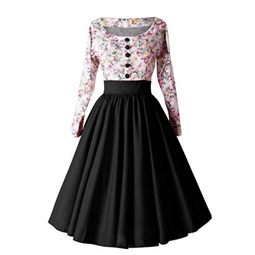 OverDose mujer De Manga Larga FloralPrint Hepburn Vintage BotóN Lindo De Cintura Alta Plisada Plisada Vestido De OtoñO Vestido: Amazon.es: Ropa y accesorios