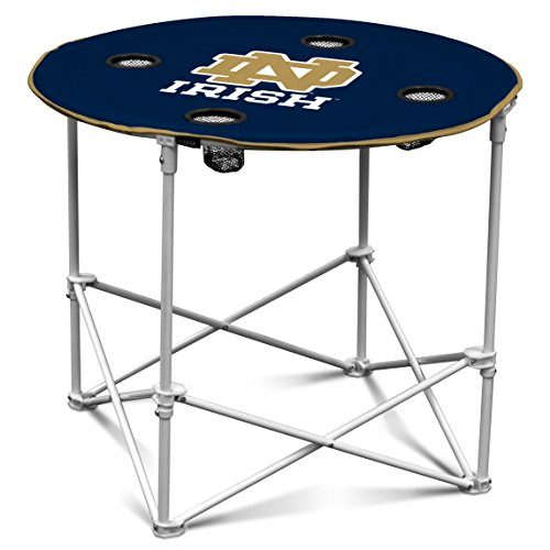 Notre Dame Fighting Irish Collapsible Round Table with 4 Cup Holders and Carry Bag (Tables Notre Dame)