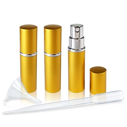 Gold Perfume Bottle - Refillable Perfume & Cologne Fine Mist Atomizers with Metallic Exterior & Glass Interior - Portable Travel Size - 3ml Squeeze Transfer Pipette Included - 3 Pc Pack of 5ml (Gold)