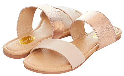 Floopi Womens Summer Wide Elastic Slide Flat Sandal (10, Nude-503)