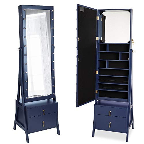 Blue Storage Armoire - Beautify Lockable Floor Standing Make Up and Jewelry Cabinet Organizer Armoire Storage with 2 Drawer, Inside Mirror & LED Warm Lights (Navy Illuminated)