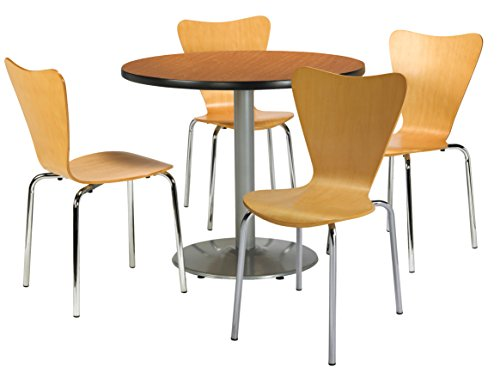 KFI Seating Round Laminate Top Pedestal Table with 4 Natural Bentwood Café Chairs, 36