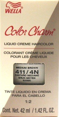 Wella ColorCharm Liquid #0411/4N Medium Brown Hair Color (Case of 6)