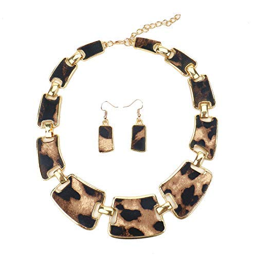 JETEHO Fashion Gold Tone Style Leopard Grain Necklace Collar Bib and Earrings Sets for Women Girls