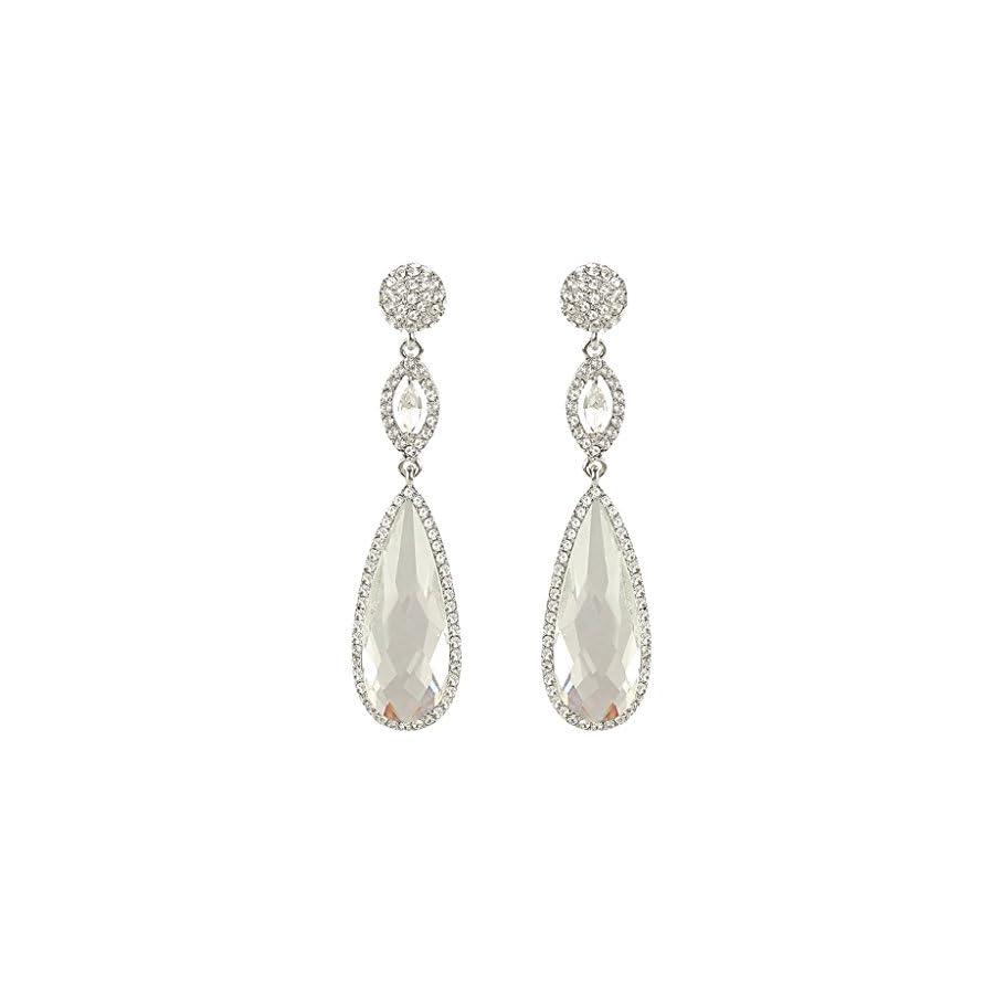 EVER FAITH Rhinestone Crystal Wedding Graceful Tear Drop Pierced Dangle Earrings