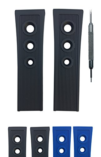 Diver Rubber Watch Strap for Breitling Ocean Racer 201S - Free Spring Bar Tool (24mm, Black)