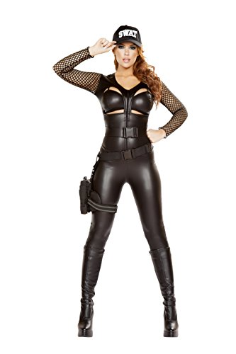 Cyberteez Sexy Women's 2pc Squad Leader Cop Policer Special Ops Costume (L) Black