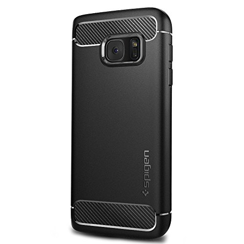 Spigen Rugged Armor Galaxy S7 Case with Resilient Shock Absorption and Carbon Fiber Design for Samsung Galaxy S7 2016 - Black