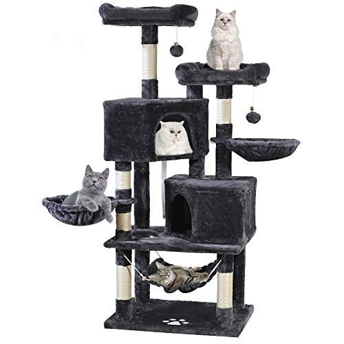 "Multi-Level Cat Tree, MQ Cat Tower 57"" with Sisal-Covered Scratching Posts Cat Activity Center Play Furniture, Dual Plush Perch, Dual Cat House Condo & Basket, Removable Hammock for Kittens Large Cats"