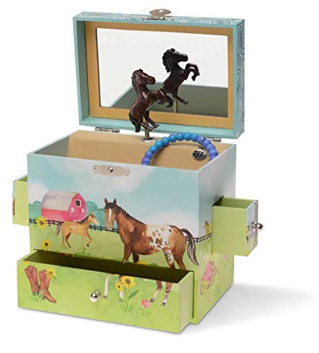 JewelKeeper Musical Jewelry Box 3 Drawers, Horse and Barn Design, Home on The Range Tune ()