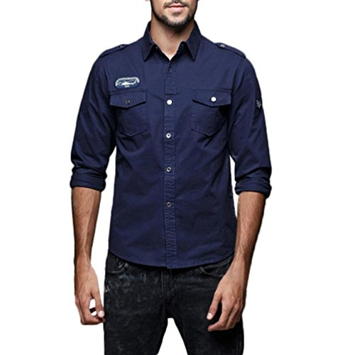 Xchenda Mens Long Sleeve Shirts Autumn Casual Military Cargo Slim Button Tops Blouse Shirt (3XL, Navy) by Xchenda