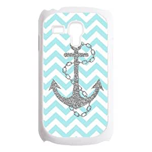 Light Blue Chevron Zigzags & Gray Anchor Pattern Personalized Custom Best Plastic Case for Samsung Galaxy s3 MINI ,Black or White for Choice
