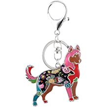 Marte&Joven Siberian Husky Keychain for Women Dog Lover Unique Enamel Dog Jewelry Gift