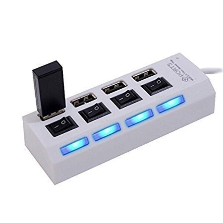 Hebrik trade; 4 Port USB Hub Ultra Speed with Individual On/Off Switches and Led Light  White  Network Hubs