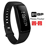 Fitness Tracker - AUPALLA 21BP Smart band Activity Tracker Work With Heart Rate Monitor and Blood Pressure Measure Pedometer Sleep Monitor Calories Track Support iPhone Android Smartphone (black)