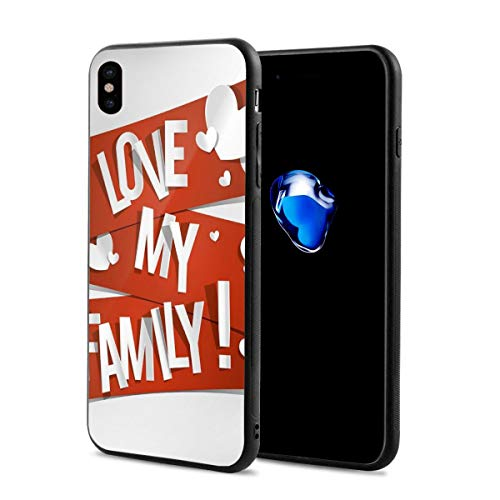 Phone Case Cover for iPhone X XS,Red Banners with Family Love Message and White Hearts Passionate Illustration,Compatible with iPhone X/XS 5.8 ()