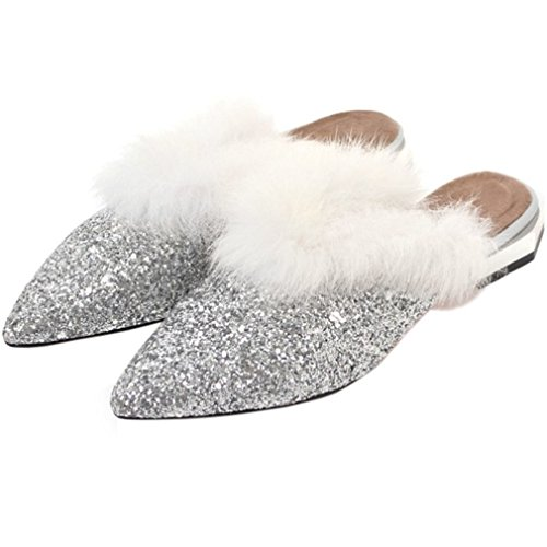 ENMAYER Frauen Glitter Slipper rutschfeste Sandalen mit Keilabsatz warmes Futter Silber3