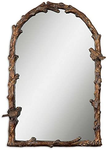 Large Bird Branch Plaza Arch 37″ Wall Mirror Vanity Mantel