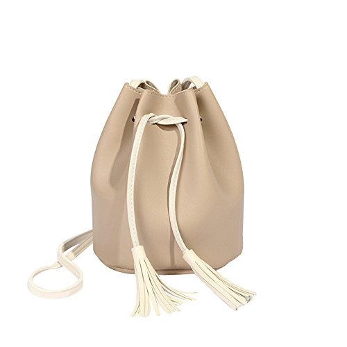 ZOMUSAR Small Crossbody Purse for Women, Fashion Tassels High Capacity Bucket Bag Shoulder Bag Crossbody Bag (Beige Bucket)