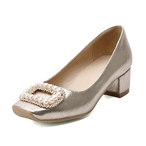 JIEEME Ladies Fashion Block heel Gold Silver Low heel Pearls women pumps Sexy buckle strap Square toe Women court shoes Gold SBMKU
