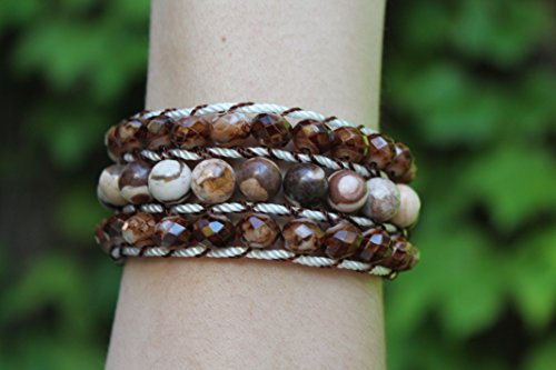 Bracelet Mountain Set Cuff (Brown beaded bracelet, Braided cord, Decorative button closure, Handmade boho bracelet, Stacked jewelry, Bracelet set, Earth tone)