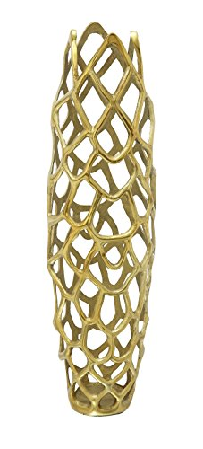 "Deco 79 Aluminium Decorative Gld Vase 9"" W, 31"" H-37662, 9"" x 31"", Gold - Color: gold Finish: polished Theme: new traditional - vases, kitchen-dining-room-decor, kitchen-dining-room - 417O%2BWJybHL -"
