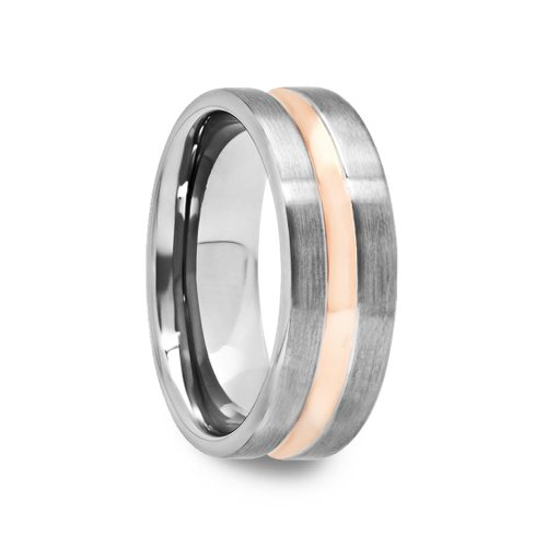 8 Mm Mens Tungsten Carbide Rings Wedding Bands Rose Gold Plated