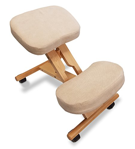 Healthy Back Premium Artisan Kneeling Chair with Adjustable Ergonomic Angle for Improved Posture - Solid Wood with Breathable Fabric (Creme) ()
