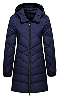 Wantdo Women's Hooded Packable Ultra Light Weight Lengthed Down Jacket