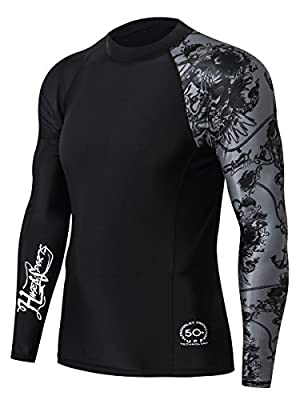 HUGE SPORTS Men's Splice UV Sun Protection UPF 50+ Skins Rash Guard Long Sleeves