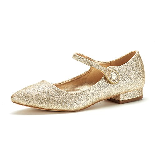 DREAM PAIRS Women's Sole_Silky Gold/Glitter Fashion Low Stacked Ankle Straps Flats Shoes Size 10 M US -