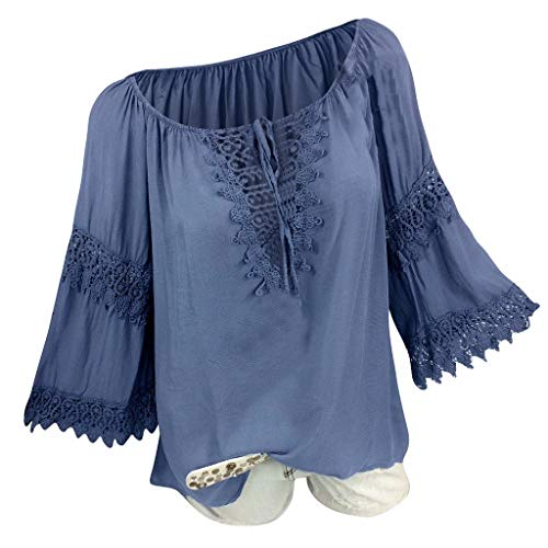 Witspace Women Plus Size O-Neck Long Sleeve Solid Tops Spliced Easy T-Shirt Blouse Tops ()