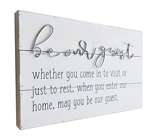 GIFTME 5 Wooden Wall Art Be Our Guest Metal Sign Wood Wall Plaque Signs Guest Room Home Décor