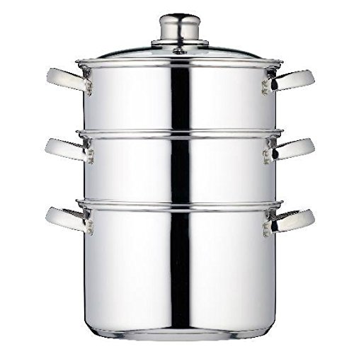 3 Tier Steamer with Glass Lid 20cm- Perfect Family Cooking / Healthy Eating (Pack of 2)