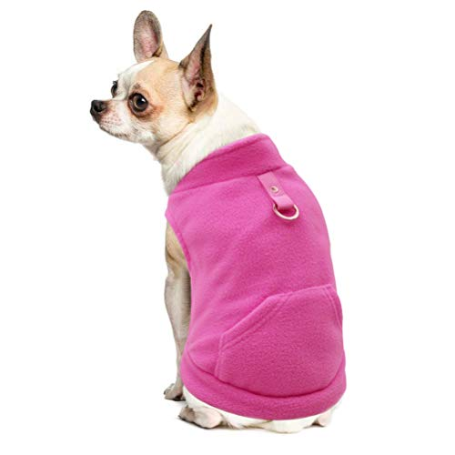 EXPAWLORER Fleece Autumn Winter Cold Weather Dog Vest Harness Clothes with Pocket, Hot Pink Large