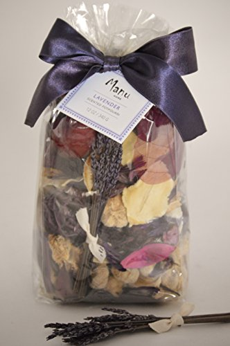 Manu Home Lavender Potpourri Bag~12 oz Made with Relaxing Aromatherapy oils, Lavender Stems from Provence & Natural Dried Flowers. Fragranced Floral Botanicals. Relieves Stress & Anxiety! Pure Plant materials + aromatic plant essential oils for the purpose of altering one's mood, Cognitive, psychological & physical well being. Great Idea for Weddings,Housewarming and Gift Baskets. Hand Crafted in USA!100% Satisfaction!