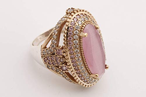 (Turkish Handmade Jewelry Long Oval Shape Pink Cat's Eye Quartz and Round Cut Topaz 925 Sterling Silver Ring Size Option)