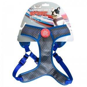 Coastal Pet Comfort Soft Sport Wrap Adjustable Dog Harness X-Small   Grey with Blue 5/8