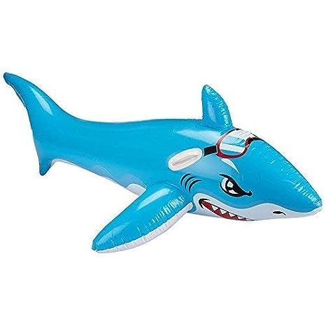 lively moments Inflable Tiburón en Azul Claro con Gafas de Natación / Montura para Niños / Flotador Animal/Animal Hinchable/Badetier Aprox.