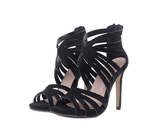 Sabre Tout De Après Avec Daim Hauts Bien chaussures Imperméables Fermeture La Forty Chaussures En Concorde 5cm Argenté Khskx Sandales Hairtail Des Talons Bouche Noir 8 BqHpwx7z