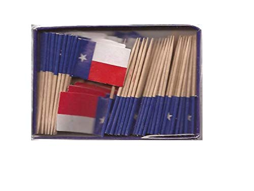 One Box Texan Toothpick Flags, 100 Small Mini Texas TX Flag Cupcake Toothpicks or Cocktail Picks -