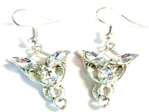 Silver Tone Dangle Earrings The Lord Of The Rings Arwen Evenstar Design With Clear (Evenstar Earrings)
