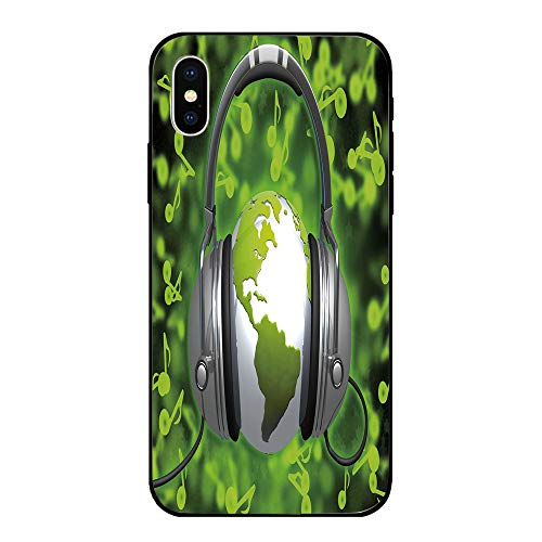 Phone Case Compatible with iPhone X Brandnew Tempered Glass Backplane,World,World of Music Themed Composition DJ Headphones Musical Notes and Earth Globe Decorative,Lime Green Grey,Anti-shock and shoc