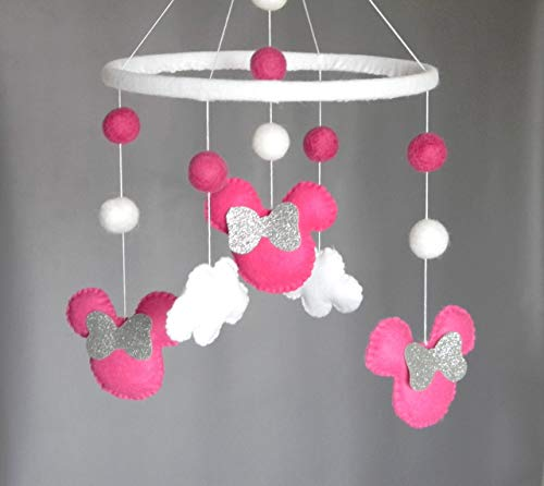 Disney-inspired Minnie mouse Baby Mobile Baby Crib Mobile Modern Nursery mobile Cloud Cot Mobile Baby girl mobile fuchsia colors ()