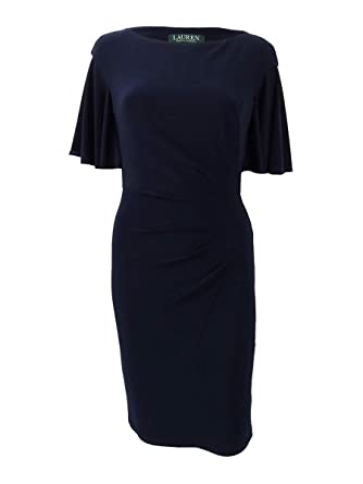 a6e21ea8fb23 Amazon.com  Lauren by Ralph Lauren Women s Cape-Overlay Sheath Dress   Clothing