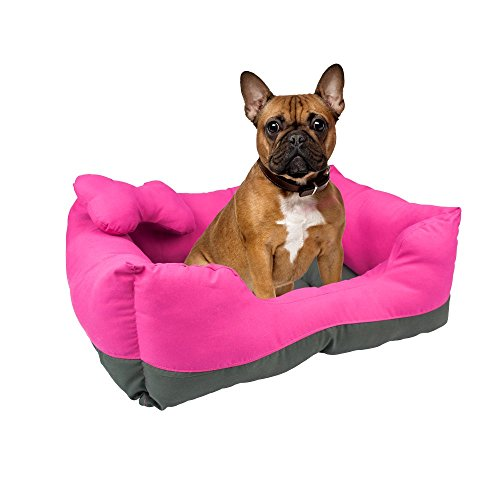 Fancy Pets Cama Rectangular, color Rosa/Gris