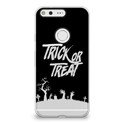CasesByLorraine Google Pixel Case, Halloween Trick or Treat Clear Transparent Case Flexible TPU Soft Gel Protective Cover for Google Pixel -